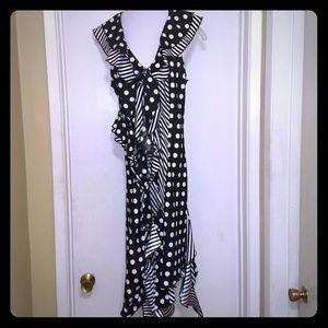 Black and White polka dot striped dress